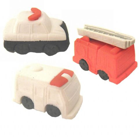 Emergency Services Vehicles - 3D Novelty Rubbers - Set of 3